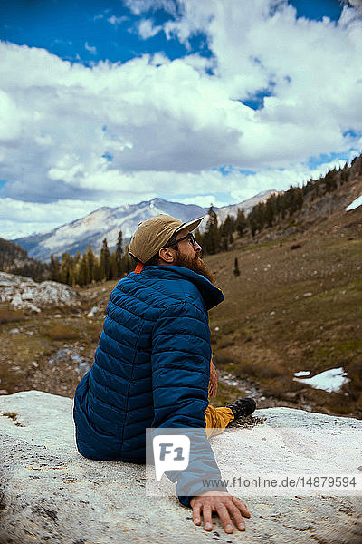 Hiker enjoying surroundings  Mineral King  California  United States