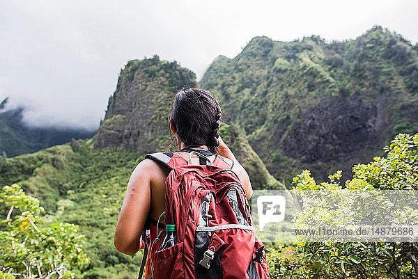 Wanderer halten an  um den Regenwald zu geniessen  Iao Valley  Maui  Hawaii