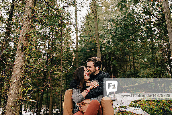 Couple hugging in forest  Tobermory  Canada