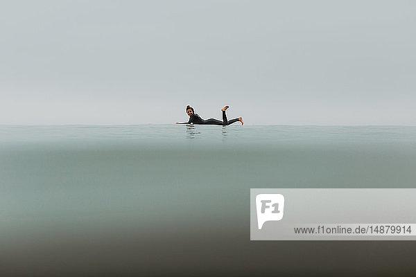 Junge Surferin auf einem Surfbrett liegend in ruhiger  nebliger See  Portrait in voller Länge  Ventura  Kalifornien  USA