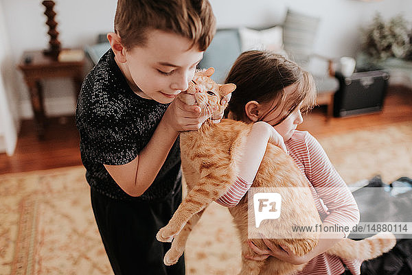 Children playing with cat at home