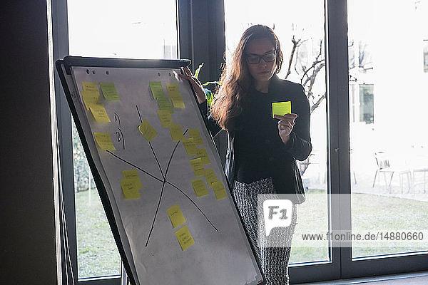 Geschäftsfrau liest im Büro Haftnotizen am Whiteboard