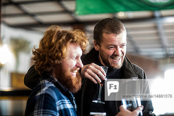 Two male customers laughing in traditional Irish public house