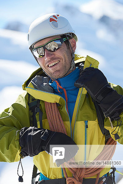 Mountaineer with climbing ropes  Chamonix  Rhone-Alps  France