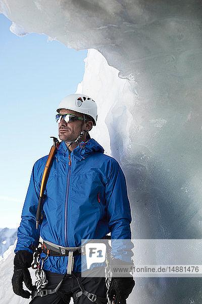 Porträt eines Bergsteigers  Chamonix  Rhône-Alpen  Frankreich