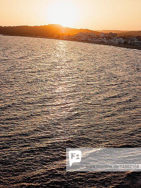 Sunset over seaside  Altafulla  Catalonia  Spain
