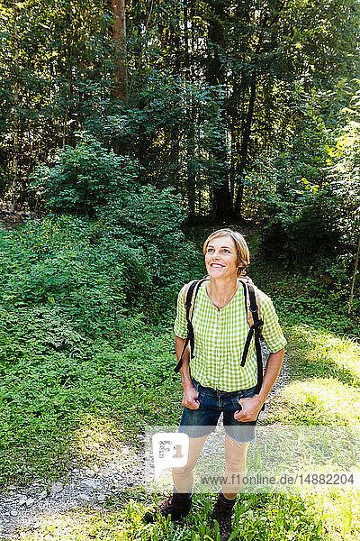 Frau erkundet Wald  Sonthofen  Bayern  Deutschland