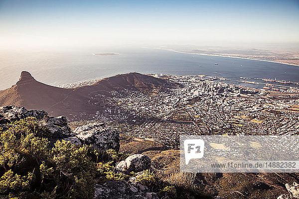 Szenische Ansicht der Küste und des Meeres  Hochwinkelansicht  Kapstadt  Westkap  Südafrika