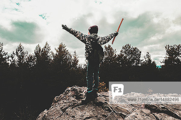 Boy on rock waving stick  Ural  Sverdlovsk  Russia