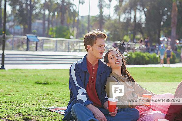 Junges Paar im Park sitzend  Los Angeles  Kalifornien  USA
