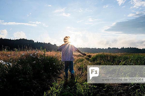 Junge spielt im Feld bei Sonnenuntergang,  Rückansicht