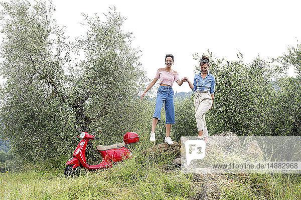 Freunde  die die Landschaft genießen  Città della Pieve  Umbrien  Italien