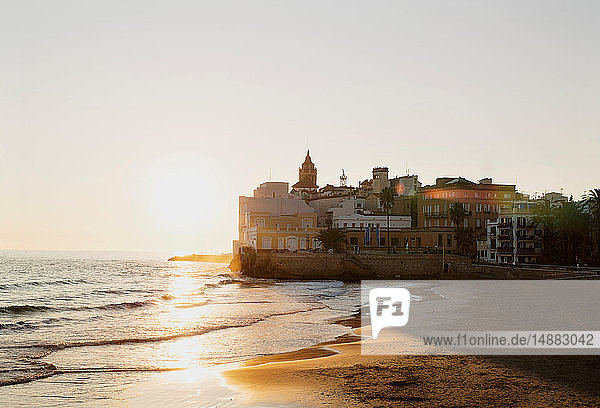 Sunset over beach  Sitges  Catalonia  Spain