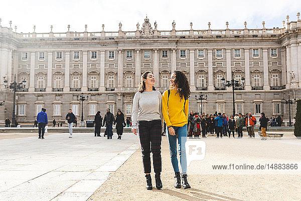 Girlfriends exploring city  Madrid  Spain