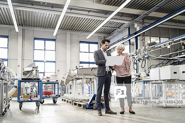 Geschäftsmann und ältere Frau betrachten Plan in einer Fabrik