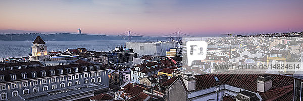 Portugal  Lisbon  View to Tagus River with 25 de Abril Bridge in the morning  seen from Baixa