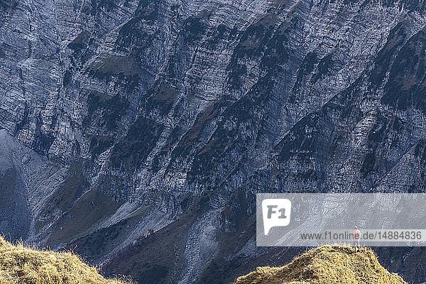 Österreich  Tirol  Hinterriss  Mann am Rande des Karwendelgebirges zwischen Torkopf und Gamskar