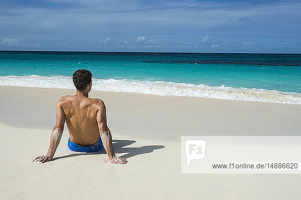 Caribbean  Anguilla  man sitting on the beach  rear view