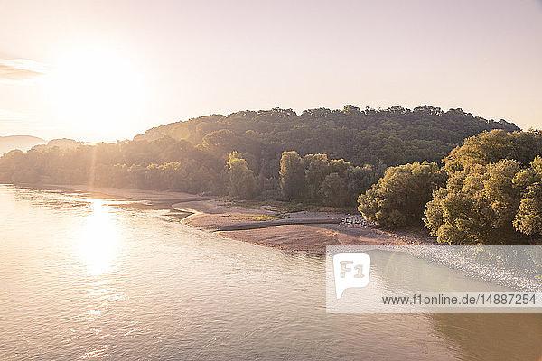 Austria  Lower Austria  Danube river at sunrise