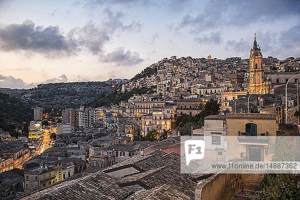 Italy  Sicily  Modica  townscape in the evening with church San Giorgio