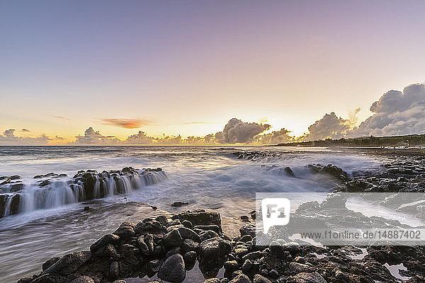 USA  Hawaii  Kauai  Pacific Ocean  South Coast  Kukuiula Bay at sunset
