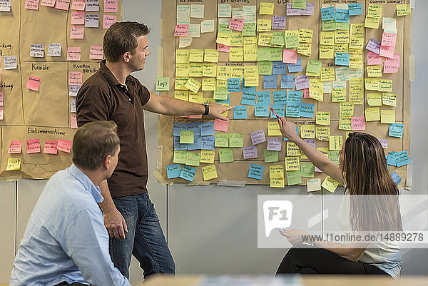 Colleagues discussing with sticky notes at wall in office