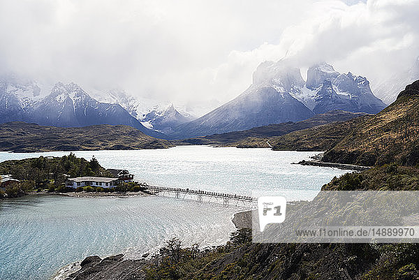 Chile  Patagonia  Landscape of river and mountains of Torres del Paine National Park