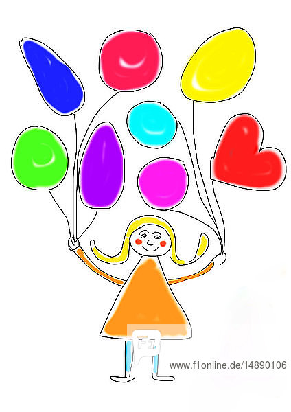 Kinderzeichnung eines glücklichen Mädchens mit Luftballonbündeln