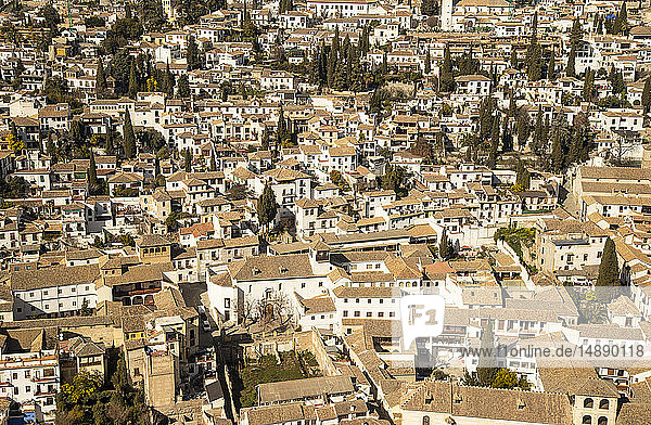 Spain  Andalusia  view on center of Granada from Alhambra