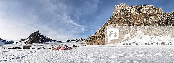 Greenland  Sermersooq  Kulusuk  Schweizerland Alps  tent camp in snow