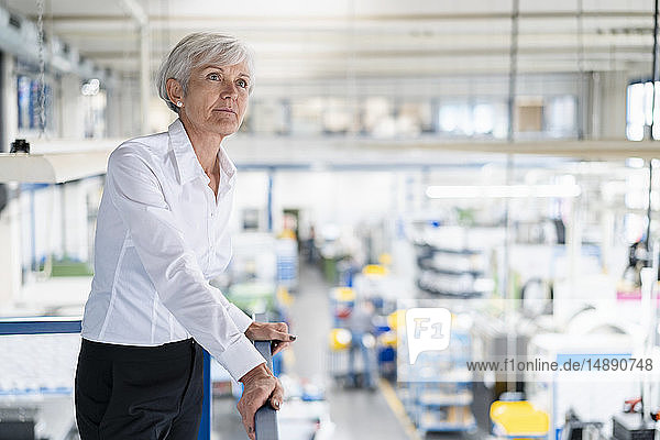 Senior businesswoman on upper floor in factory overlooking shop floor