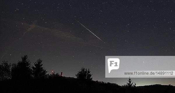 Deutschland  Hochtaunuskreis  Großer Feldberg  Perseiden-Meteor