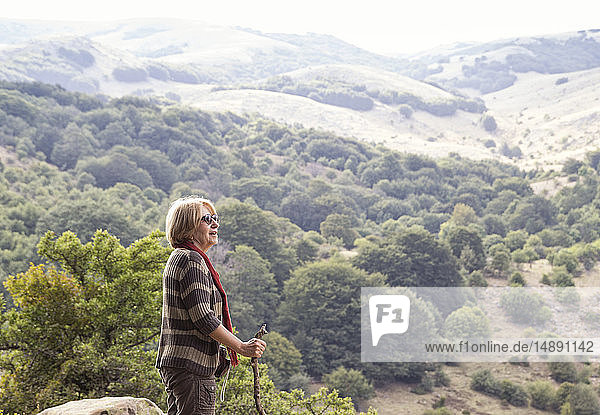 Italy  Sicily  Castelbuono  Parco delle Madonie  senior woman hiking