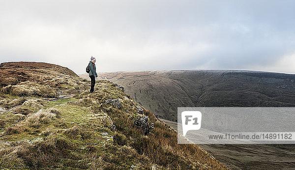 UK  Wales  Brecon Beacons  Craig y Fan Ddu  Frau beim Wandern in hügeliger Landschaft