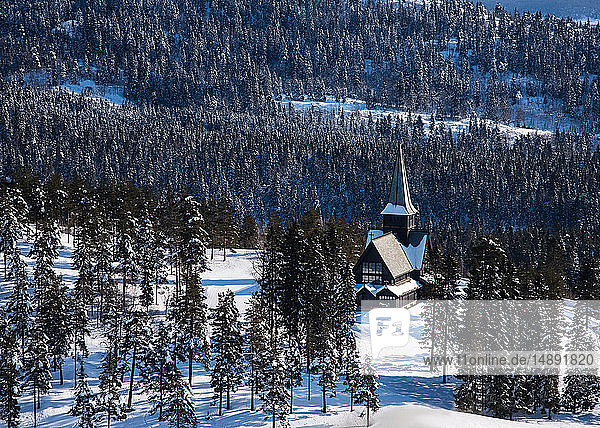 Church in forest during winter in Oslo  Norway