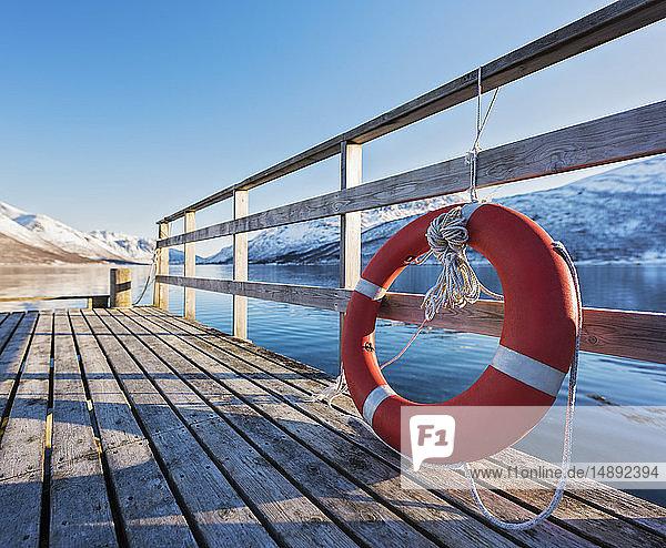 Life preserver on pier in Tromso  Norway