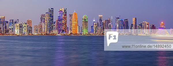 Sunset skyline of Doha  Qatar