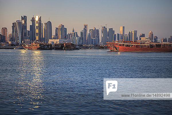 Port by skyline of Doha  Qatar