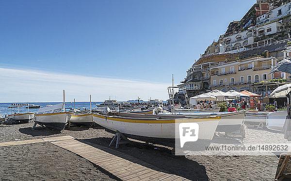 Boats on beach in Positano on Amalfi Coast  Italy