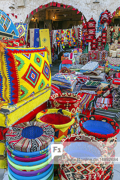 Bright textiles in market in Doha  Qatar