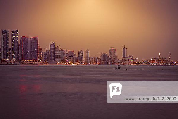 Skyline at sunset in Manama  Bahrain