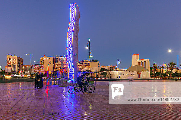Modern sculpture in town square at sunset in Dakhla  Morocco