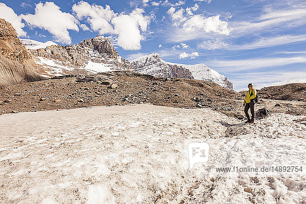 Woman on Athabasca Glacier in Jasper National Park  Alberta  Canada