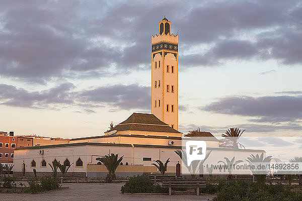 Eddarham Mosque at sunset in Dakhla  Morocco