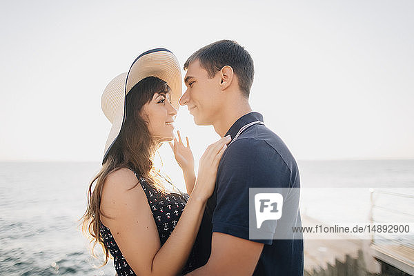 Young couple on pier