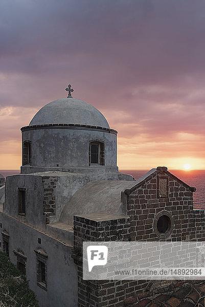 Church at sunrise in Monemvasia  Greece