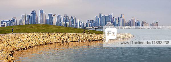 Waterfront by skyline of Doha  Qatar