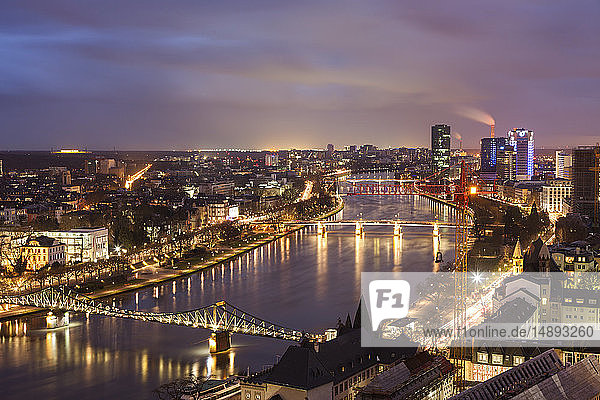Cityscape at sunset in Frankfurt  Germany