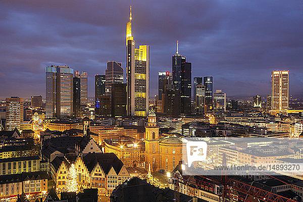 Skyline at sunset in Frankfurt  Germany