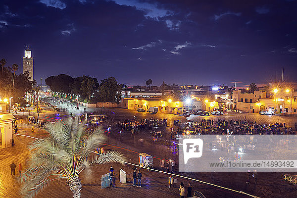 Koutoubia Mosque on Djemma el Fna square at sunset in Marrakesh  Morocco
